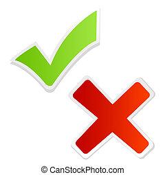 vert, tique, marque, et, croix rouge