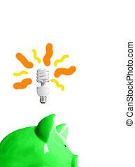 vert, tirelire, à, energy-efficient, light-bulb, au-dessus, (smart, energy)