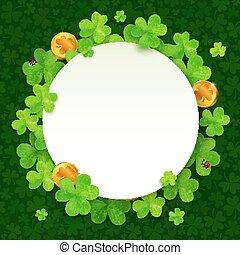 vert, trèfles, et, doré, pièces, saint, patricks, jour,...