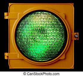 vert, trafic, éclairé, lumière