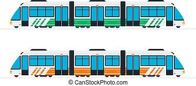 vert, train, plat, vitesse, interurbain, orange, couleur isolée, vecteur