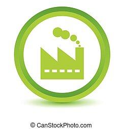 vert, usine, icône