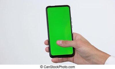 vert, utilisation, main, screen., mâle, smartphone