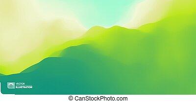 vert, vecteur, arrière-plan., montagnes., illustration.,...