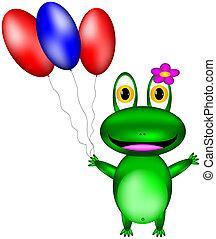 vert, vecteur, ballons, grenouille, heureux