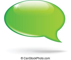 vert, vecteur, bulle discours