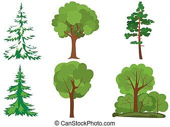 vert, vecteur, ensemble, arbres