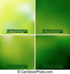 vert, vecteur, ensemble, arrière-plans