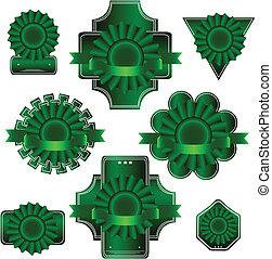 vert, vecteur, ensemble, label.