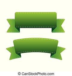 vert, vecteur, ensemble, ruban