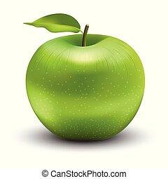 vert, vecteur, illustration, pomme
