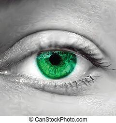 vert, vecteur, oeil, macro., femme