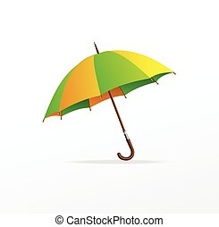 vert, vecteur, parapluie, isolé, jaune