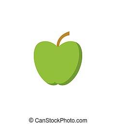 vert, vecteur, -, pomme, illustration
