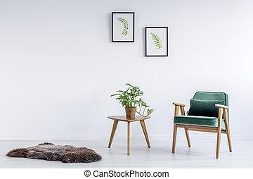 vert, velours, fauteuil