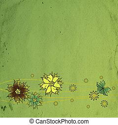 vert, vieux, textured, papier, fleurir, fond, fleurs, sombre