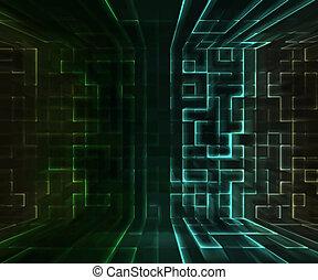 vert, virtuel, fond, espace