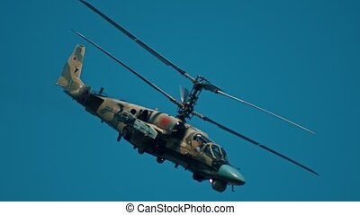 vert, vue, côté, coloration, combat, -, hélicoptère volant,...