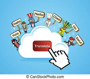 vertalen, concept, wolk, gegevensverwerking