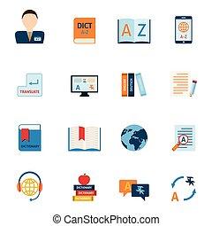 vertaling, set, woordenboek, iconen