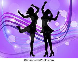 vertegenwoordigt, dancing, disco muziek, volwassene, vrouwen