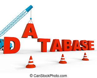 vertegenwoordigt, databank, opslag, vertolking, bouwen, databanken, 3d