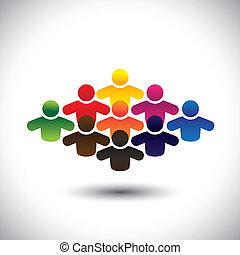 vertegenwoordigt, grafisch, concept, groep, kleurrijke, mensen, scholieren, vormen, abstract, iconen, -, gemeenschap, of, ook, kleuren, werkmannen , gevarieerd, vector., werknemers, kinderen, stafmedewerkers