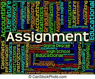 vertegenwoordigt, woord, taak, studeren, oefeningen, thuis