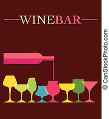 verter, de, vino, en, vino, colorfull, anteojos