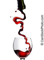 verter vino tinto, en, vidrio, copa, aislado, blanco