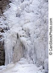 Vertial Waterfall frozen by winter