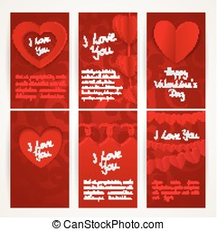 Vertica red banners with garlands of paper hearts for Valentine's Day