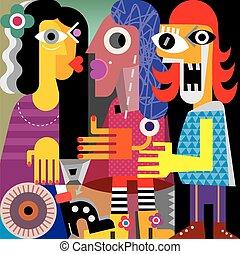 verticaal, abstract, drie vrouwen
