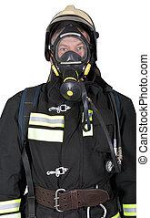 verticaal, ademhaling, brandweerman, apparaat