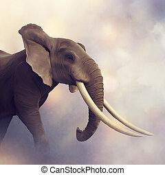 verticaal, afrikaanse olifant