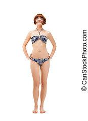 verticaal, bikini, volledige lengte, vrouw