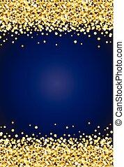 verticaal, blauwe , goud, 2, achtergrond, schittering, ...