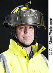 verticaal, brandweerman, serieuze