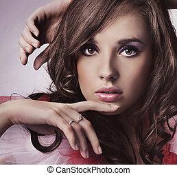 verticaal, brunette, jonge