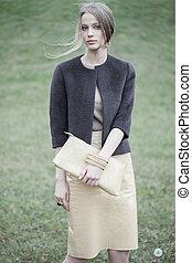 verticaal, buiten, model, mode