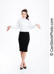 verticaal, businesswoman, schouders, jonge, zijn schouder op het halen