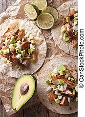 verticaal, carnitas, avocado, close-up., aanzicht, varkensvlees, ui, bovenzijde, tortilla