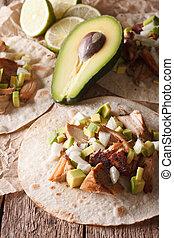 verticaal, carnitas, avocado, close-up., varkensvlees, ui, tortilla