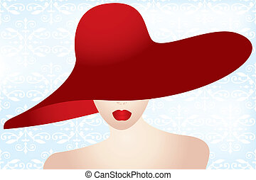 verticaal, dame, rode hoed