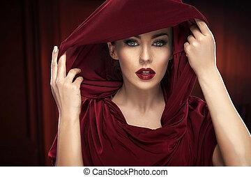 verticaal, dame, rood