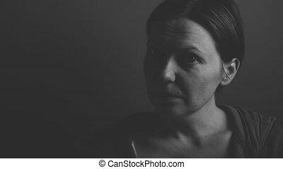 verticaal, depressief, vrouw