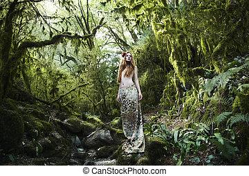 verticaal, elfje, vrouw, romantische, bos