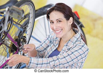 verticaal, fiets, vrouwlijk, werktuigkundige