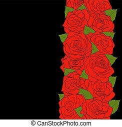verticaal, floral, composition., mooi, rode rozen, met, knoppen, en, brink loof, op, een, black , achtergrond.