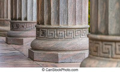 verticaal, fluted, base, schachten, ronde, kolommen